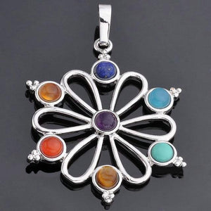 7 Color Stone Beads Chakra Healing Pendant 4 / Multicolor Pendants