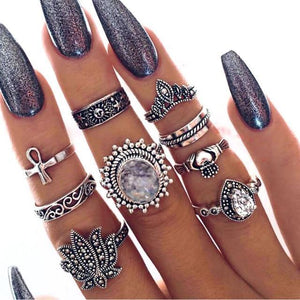 9-pc silver boho midi ring set Silver Anillos