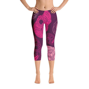 All Day Comfort Skull Candy Capri Leggings Women - Apparel - Activewear - Leggings