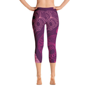 All Day Comfort Skull Candy Capri Leggings XS / Pink Women - Apparel - Activewear - Leggings