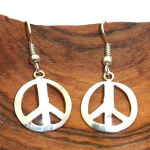 Alpaca Silver Peace Symbol Earrings (GC) Artisana