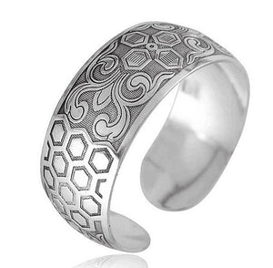 Antique Silver & Copper Boho Cuff 5 Bangles