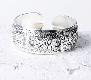 Antique Silver & Copper Boho Cuff option E / Silver Bangles