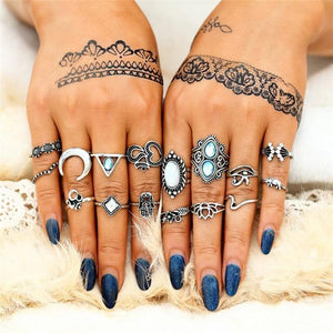 Antique  White Stone Flower Knuckle Rings Set Rings