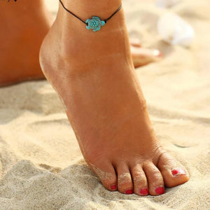 Aquamarine Tortoise Anklet for Beach Lovers BJCS250 Anklets