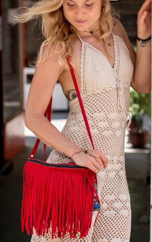 """Aurora Red""  - Fringe Crossbody Bag Bags"
