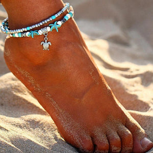 Beach Themed Boho Anklets with Starfish,  Turtle, and Wave Charm Anklets