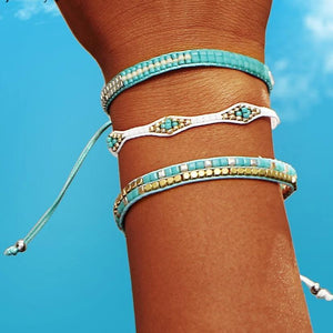 Beaded Friendship Bracelets with Aquamarine Beads Charm Bracelets