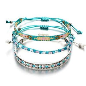 Beaded Friendship Bracelets with Aquamarine Beads F445F445F447 Charm Bracelets