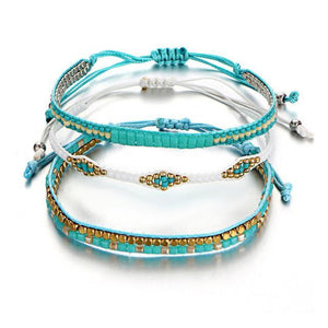 Beaded Friendship Bracelets with Aquamarine Beads F470F471F472 Charm Bracelets