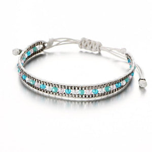 Beaded Friendship Bracelets with Aquamarine Beads FCS447 Charm Bracelets