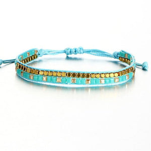 Beaded Friendship Bracelets with Aquamarine Beads FCS470 Charm Bracelets