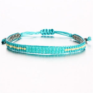 Beaded Friendship Bracelets with Aquamarine Beads FCS472 Charm Bracelets