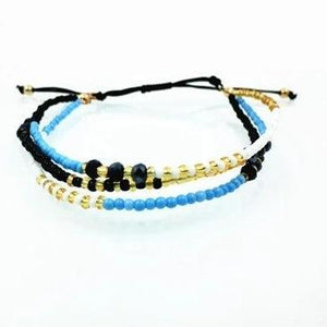 Black, Blue & Gold Crystal Glass Beads Friendship Bracelet Black Strand Bracelets