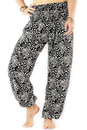 Black Floral Harem Pants Standard / Black Harem Pants
