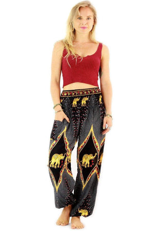 Black Goddess Elephant Harem Pants Standard / Black Harem Pants