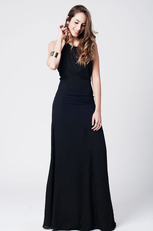 Black maxi dress with open back S / Black Women - Apparel - Dresses - Day to Night