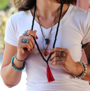 Black Onyx Buddhist Mala Beads Necklace with Red Tassels Women - Jewelry - Necklaces