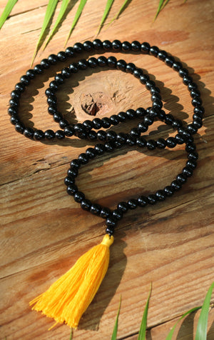 Black Onyx Buddhist Mala Beads Necklace with Yellow Tassels Women - Jewelry - Necklaces