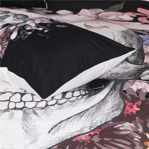 Black & Pink Floral Skull Bedding Set