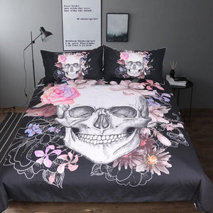 Black & Pink Floral Skull Bedding Set USA Twin