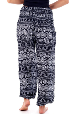 Black Tribal Diamond Harem Pants Harem Pants