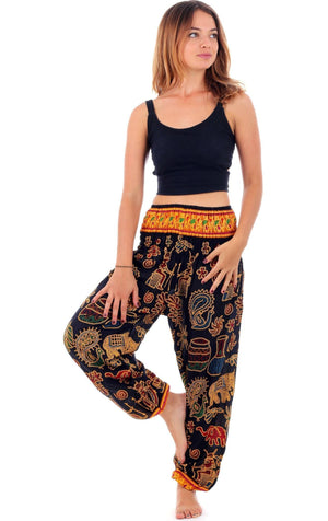 Black Tribal Elephant Harem Pants Harem Pants