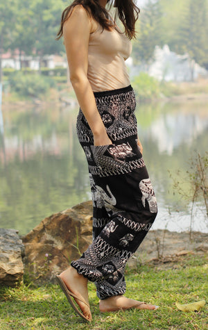 Black Tribal Elephant Harem Pants Standard / Black Harem Pants