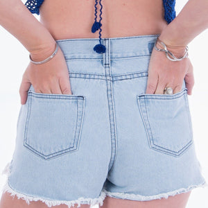 Black & White Lotus Hand Denim Denim Shorts