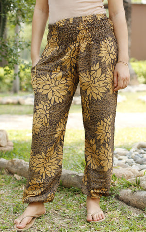 Black & Yellow Floral Harem Pants Standard / Yellow Harem Pants