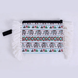 Blue Elephant Fringe Oversized Clutch Bags
