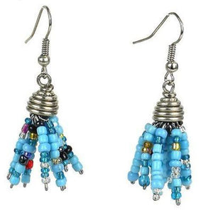 Blue Maasai Beaded Spike Earrings (GC) Zakali Creations