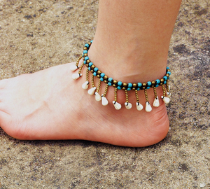 Blue Stone Layered Anklet dangle beads / Blue Anklets