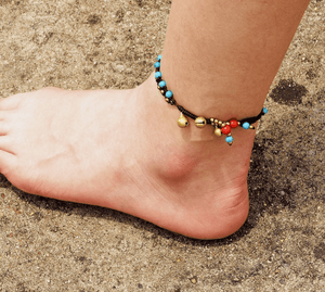 Blue Stone Layered Anklet round beads / Blue Anklets