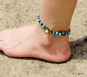 Blue Stone Layered Anklet rubble stone / Blue Anklets
