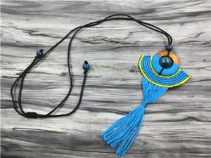 Blue Tassel Black-Bead Bohemian Necklace Blue Pendant Necklaces