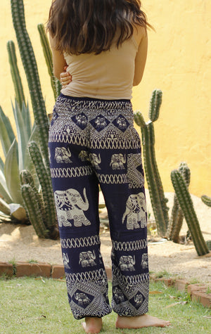 Blue Tribal Elephant Harem Pants Standard / Blue Harem Pants