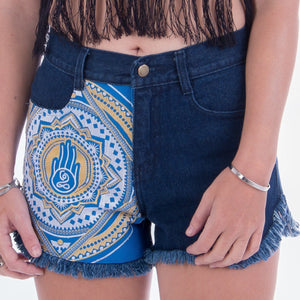 Blue & Yellow Lotus Hand Denim Denim Shorts