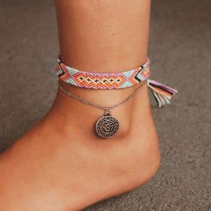Braided Beach Anklet With Boho Charm 0934 Anklets