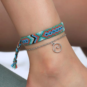 Braided Beach Anklet With Boho Charm 4255 Anklets