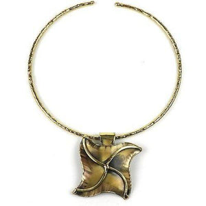 Brass Pinwheel Pendant Necklace  (GC) Brass Images