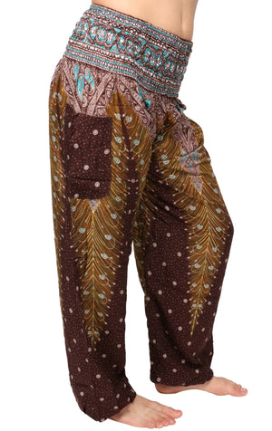 Brown & Yellow Peacock Harem Pants Harem Pants