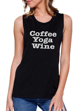 Coffee Yoga Wine Work Out Muscle Tee Cute Workout Sleeveless Tank Women - Apparel - Activewear - Tops