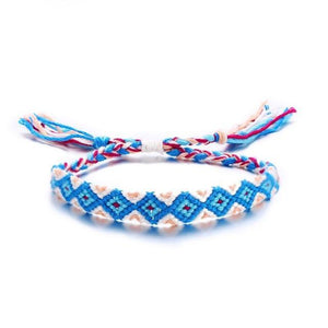 Colorful Braided Tassel Friendship Bracelets Blue Pulseras de amuleto