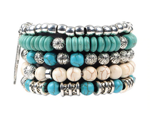 Colorful Stone Budha Bracelets Blue Wrap Bracelets