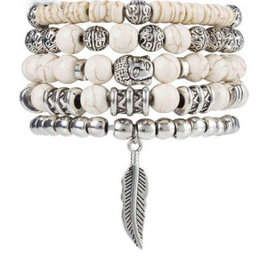 Colorful Stone Budha Bracelets White Wrap Bracelets