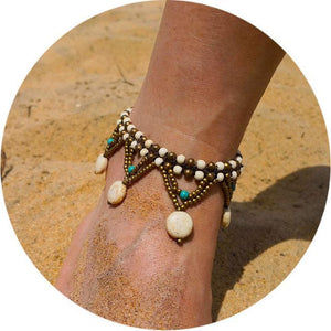 Colorful Tribal Beach Anklets/Bracelets 22 / White Anklets