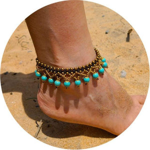 Colorful Tribal Beach Anklets/Bracelets 23 / Blue Anklets