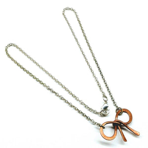 Copper and Silver Filled  Wire Wrapped Bow Tie Necklace Women - Jewelry - Necklaces