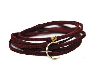 Crescent Moon Burgundy Suede Choker Women - Jewelry - Necklaces